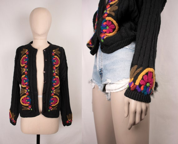 80s cable knit cardigan // embroidered flowers