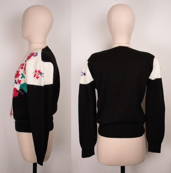80s 90s beaded surplice sweater // puff sleeves /… - image 6