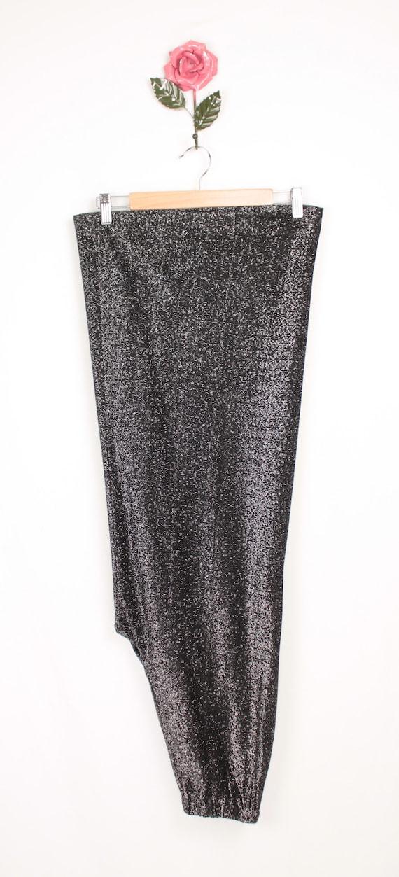 70s silver metallic palazzo pants // elastic waist - image 9