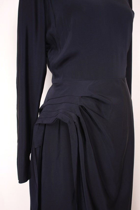 40s side drape dress // navy rayon - image 4