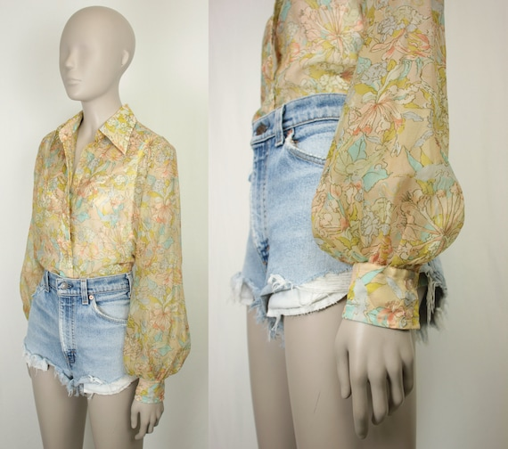 70s sheer floral shirt // Lady Manhattan // bishop