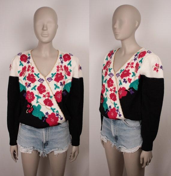 80s 90s beaded surplice sweater // puff sleeves /… - image 2