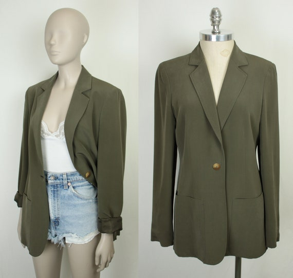 Jones New York silk blazer // olive green // size
