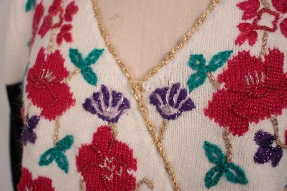 80s 90s beaded surplice sweater // puff sleeves /… - image 3