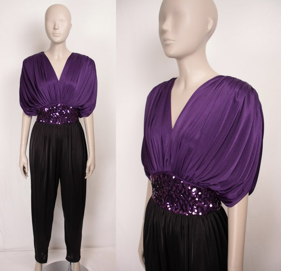 80s disco jumpsuit // draped shoulders // pockets