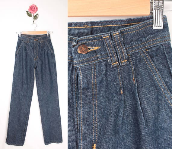 1970s HASH pleated jeans // straight leg // long l