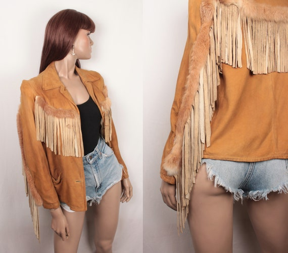 60s suede jacket // fur and fringe