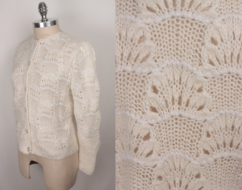 vintage knit cardigan  shell pattern  puff sleeves