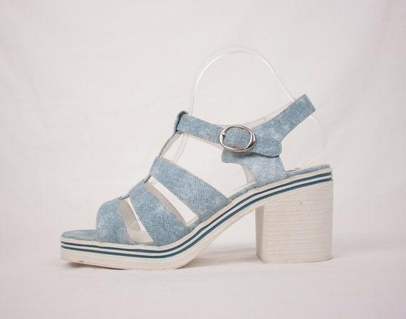 Y2K rubber sole platform sandals // faux denim //