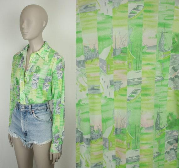 70s novelty shirt // harbor print