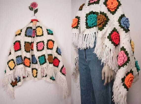 multi color granny square shawl // roses // fringe