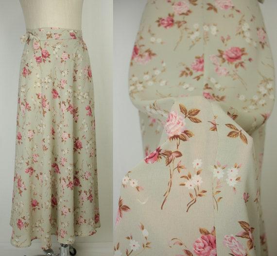 80s 90s wrap skirt // semi sheer floral print // m