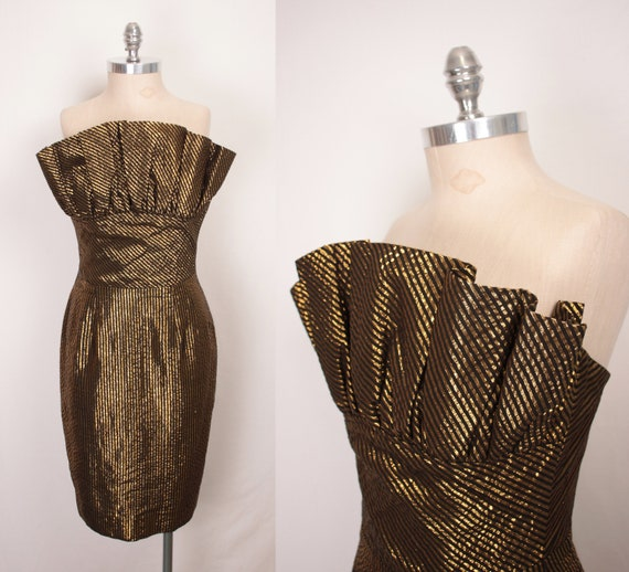 80s gold lame cocktail dress // crumb catcher bust