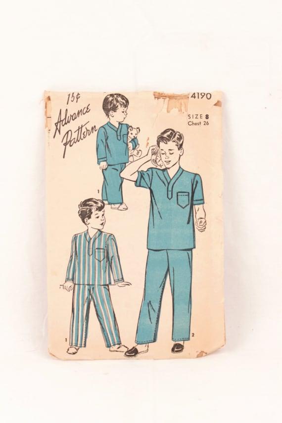 60s Advance 60 Boy's Pajama Pattern Etsy Beauteous Pajama Pattern