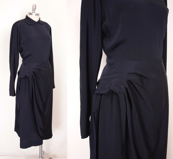 40s side drape dress // navy rayon