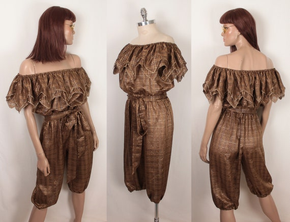 sheer metallic jumpsuit // cropped legs // off the