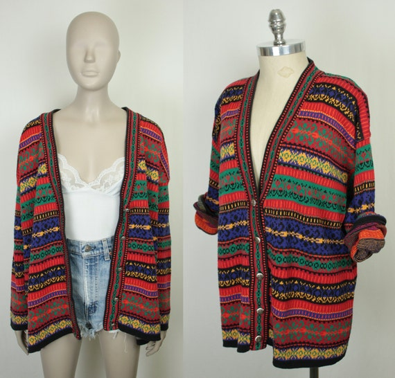 80s fairisle cardigan // oversize fit // multicolo