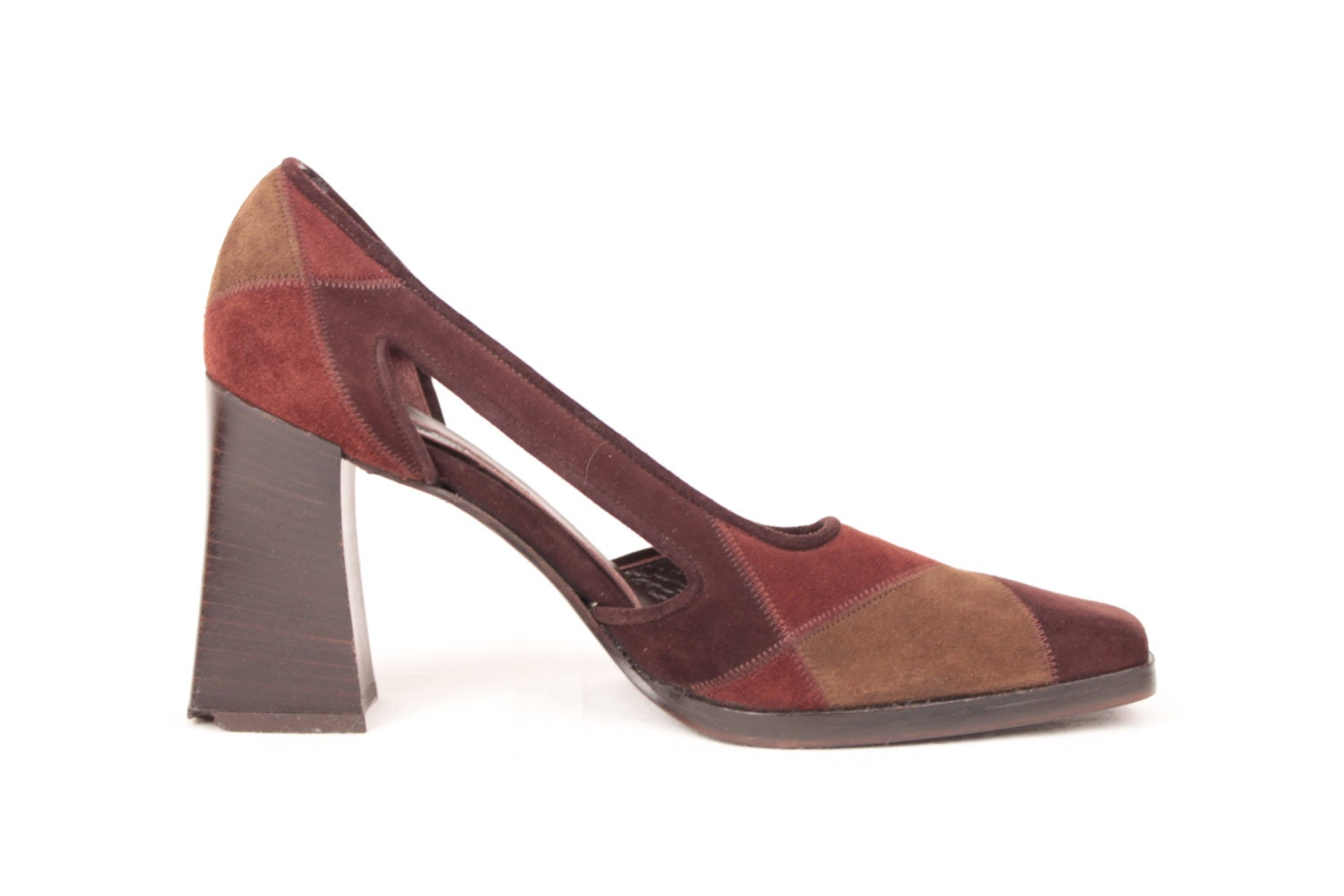 Suede Patchwork Heels Side Cut Outs Chunky Heel