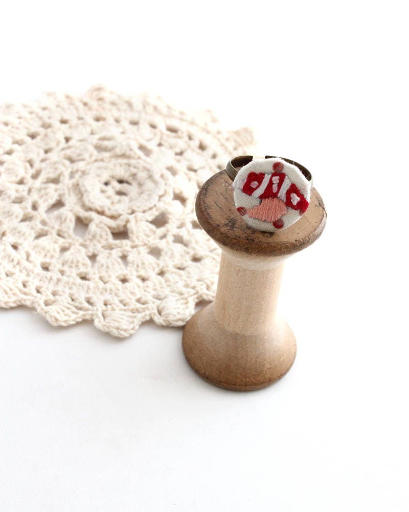 Embroidery Ring Ring Mushroom Ring Embroidery Jewelry Etsy