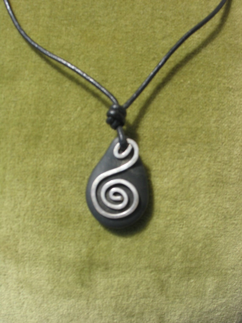Leather Necklace: Stone & Spiral image 0