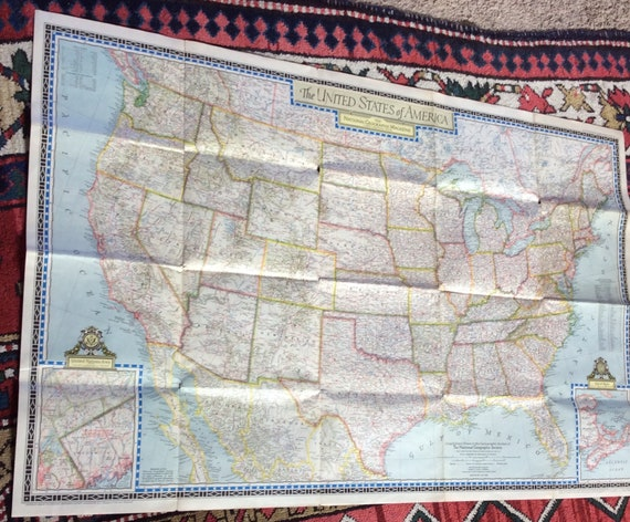 1946 Usa Map National Geographic Vintage Ephmera Wall Map Etsy