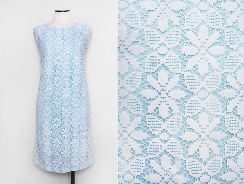 1950s Patio Vogue Blue Dress with White Floral Lace Overlay  image 0