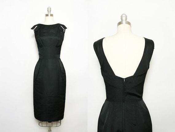 Black Silk Dress Little Black Dress 50s Sheath Dress Etsy