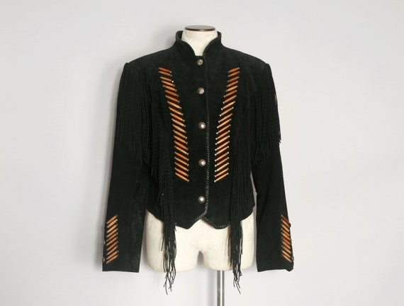 Fringed Black Leather Western Jacket