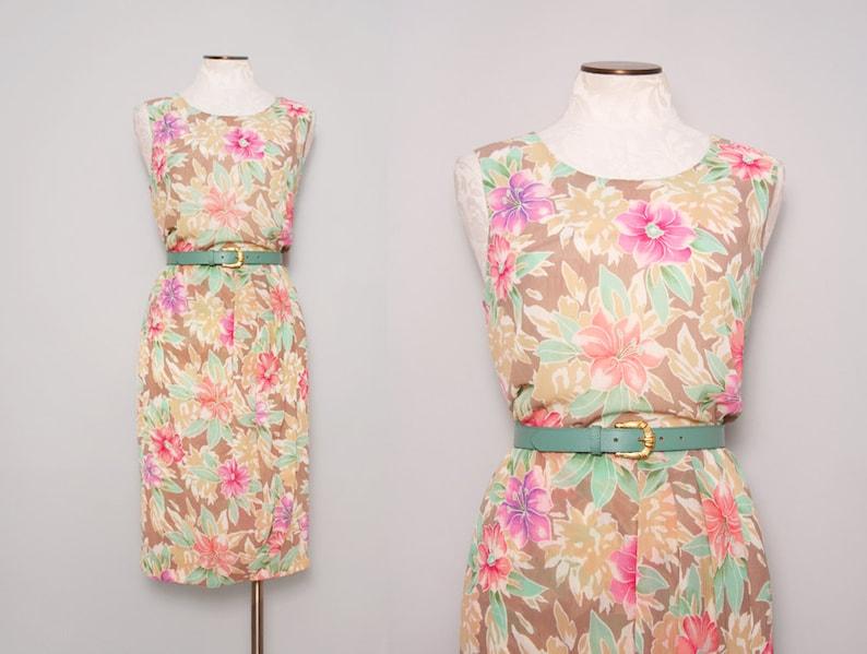 be297489f9b 1980s Sundress   Vintage 80s Floral Dress   Large