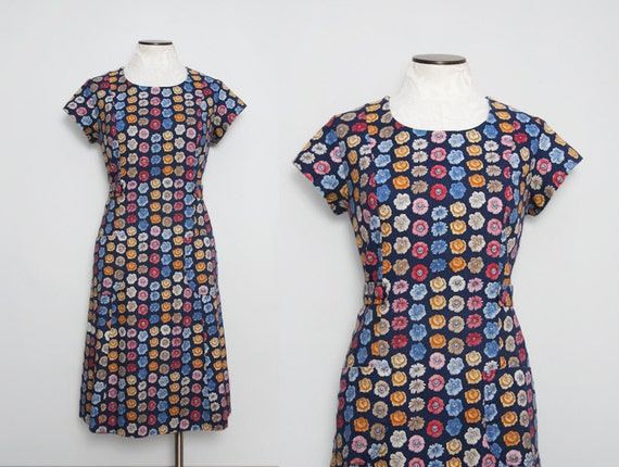 1960s Floral Day Dress with Pockets | Size Large