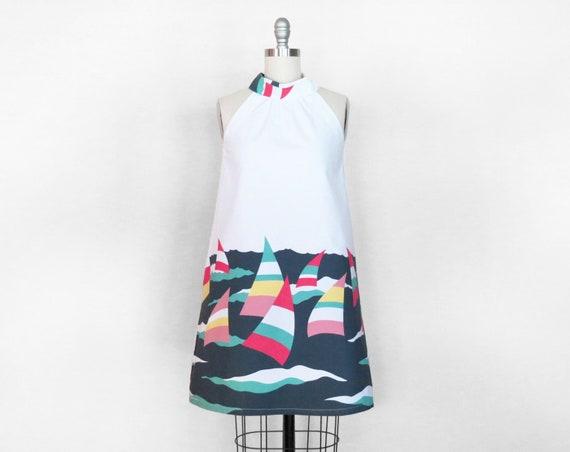Vintage Cotton Sailboat Trapeze Dress | Size Small