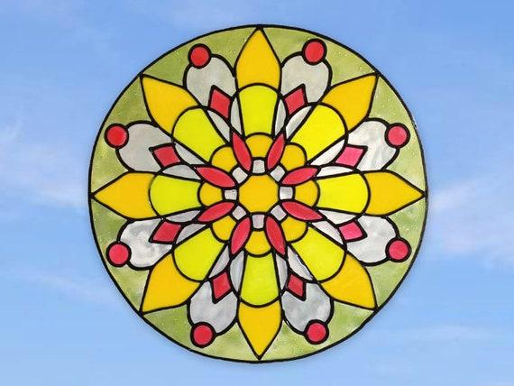 Suncatcher glueless cling Handmade window sticker Stained Glass home decor window decoration Mandala