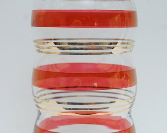 Red and Gold Glass Vase