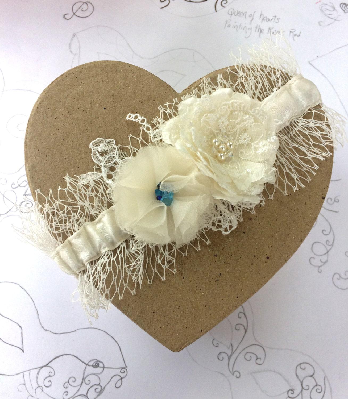 Blue Wedding Garter Uk: Something Blue Veil Garter Ivory Wedding Garter Silk