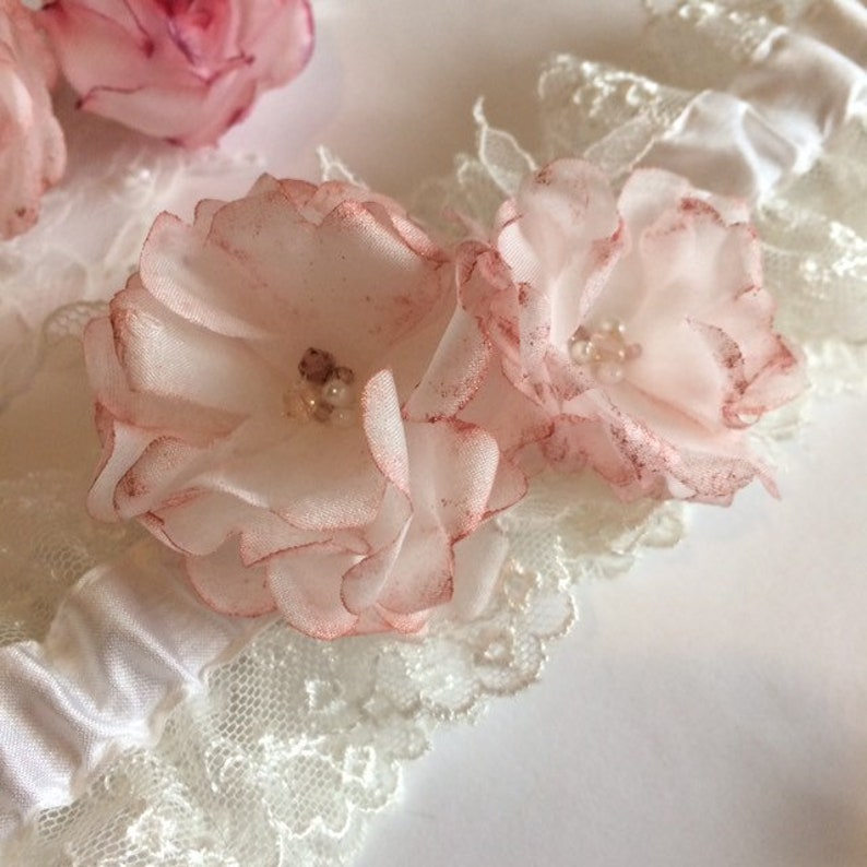 Crystals and Pearls Silk and Lace with Roses Metallic rose gold /& Ivory Wedding Garter