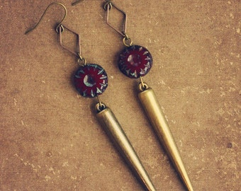 RESERVED FOR BRI joyce.  a pair of cranberry and brass spike earrings.