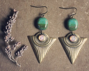 sirius.  a pair of jade picasso stone and etched triangle brass earrings.