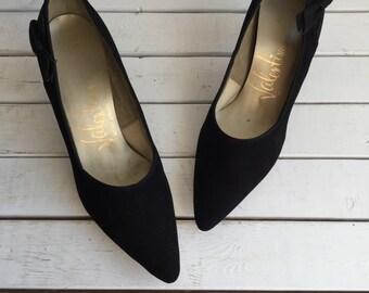Vintage 60's Pinup Black Bows Stilettos Heels 8.5