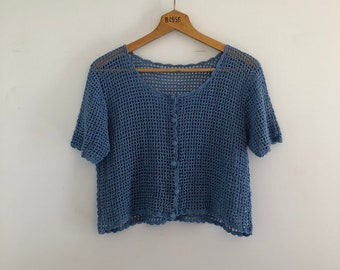 Vintage 90's Country Blue Cropped Crochet Cardigan M