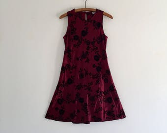 Vintage 90's Crimson Satin & Velvet Mini Dress S M