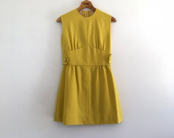 Vintage 60's Mod Lemon Yellow Mini Dress S