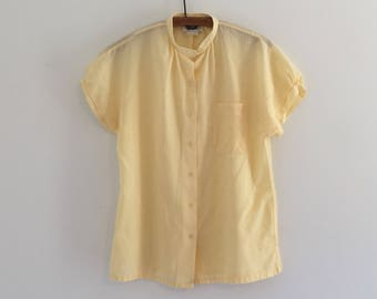 Vintage 70's Yellow Swiss Dot Camp Shirt Blouse S M