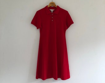 Vintage 90's Red Sporty Polo Pique Dress M