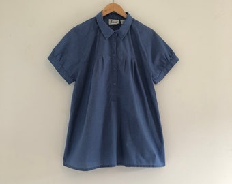 Vintage 80's Chambray Blue Joanna Tunic Top L