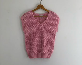 Vintage 80's Pink Textured Knit Sweater Top S M
