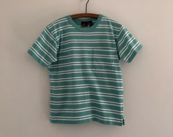 Vintage 80's Mint Stripe Cotton Pocket Tee T-Shirt M