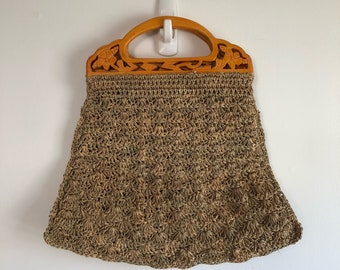 Vintage Raffia Straw Bag Wood Carved Handle Purse