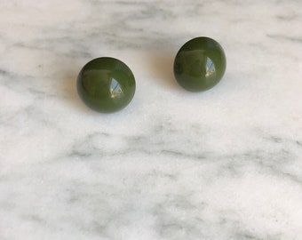 Vintage 70's Avocado Green Button Earrings