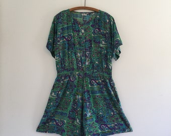 Vintage 80's Green & Blue Indian Print Romper XL