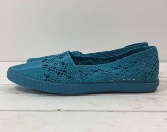 Vintage 80's Turquoise Crochet Sandals Flats 9 9 1/2